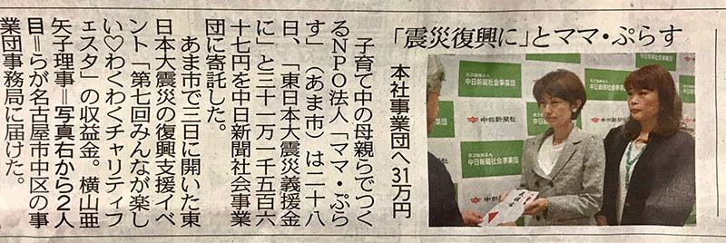 中日新聞社会事業団に東日本大震災 災害義援金